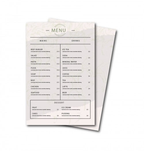 Custom Restaurant Menu Printed Cafe, QSR & Fast Food
